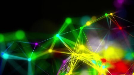 Close-up of abstract plexus of rainbow rays from numerous points, computer generated modern background, 3d rendering