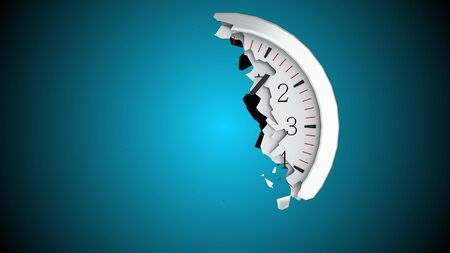 The round dial of a wall clock collapses into small fragments on a black background. Computer generated abstract background, 3d rendering Imagens