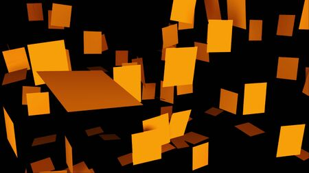 Abstract composition of many square plates randomly hanging on a black, computer generated background, 3D rendering