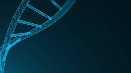 Abstract 3d background with molecule of DNA with many dots, science concept, futuristic computer generated backdrop