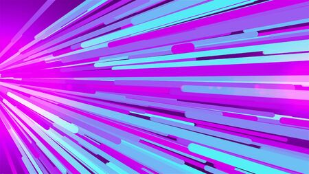 Fast flight of colored light stripes in the lateral direction, 3d rendering computer background Imagens