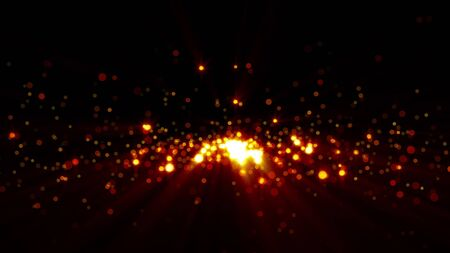 3D rendering golden sequins shimmer and create bokeh on a black background. Computer generated abstract background