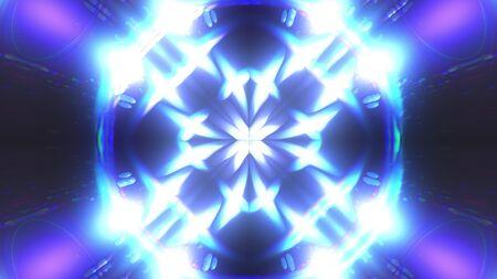Computer generated fractal blue kaleidoscopic background of twinkling blue lights, 3d rendering Imagens
