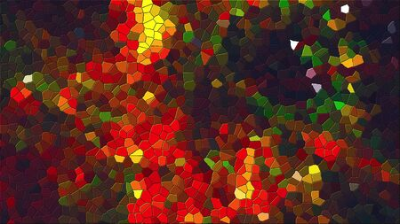 Computer generated abstract background of multicolor mosaic of various shapes, 3d rendering