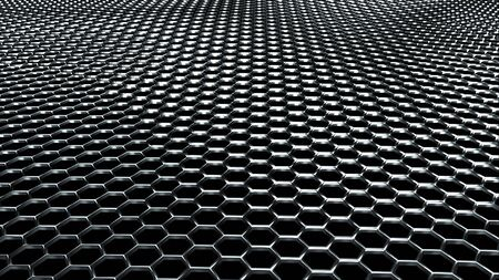 Wavy metal surface made of shiny silver hexagons. Computer generated modern background, 3D rendering. Imagens