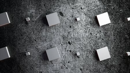 Computer generated rows of large and small cubes on a gray grunge background, 3d rendering Imagens