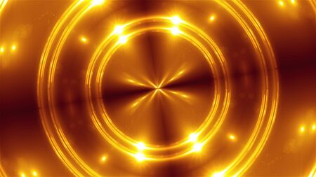 3d render of orange fractal lights. Glowing and shining effects. Computer generated abstract background of flickering circles.