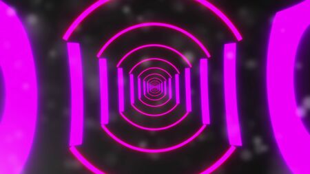 Computer generated background futuristic tunnel with neon light. 3d rendering