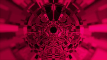 Fantastic abstract background of a cylindrical tunnel made of microchips. Computer generated 3d rendering