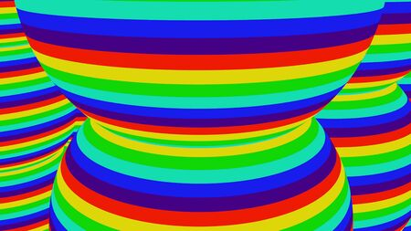 Huge spherical shapes with multi-colored stripes. Computer generated 3D rendering of round objects with vibrant colors