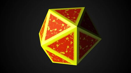 Computer generated icosahedron, 3d rendering of platonic with yellow edges and an orange center on a black background Stock Photo