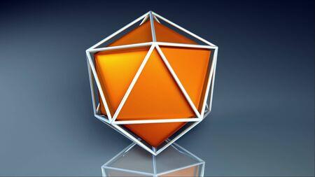 Computer generated icosahedron. Orange platonic inside a lattice, 3d rendering geometric background