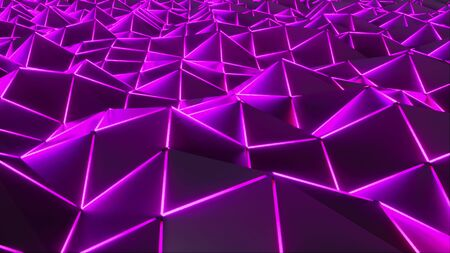 3d rendering polygonal digital abstract background. Computer generation low poly waving surface with neon glowing light. Geometric futuristic triangles