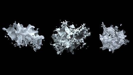 Computer abstract generated an object similar to a clot of milk or a white liquid with many sprays, isolated on a black background. 3D rendering