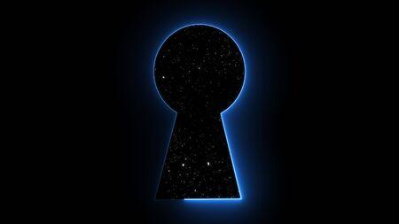 Trou de serrure néon avec étoiles, infographie abstrait, rendu 3D