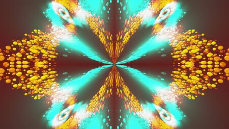 Computer generated beautiful abstract backdrop from spots and splashes. Kaleidoscope converts colors into a flower image, 3D rendering