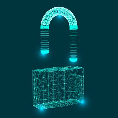 Symbol of the lock, consisting of connecting dots, lines and geometric shapes. Cyber unlock security concept.