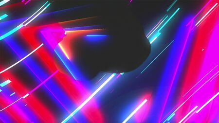Neon composition with bright shapes like neon tunnel is in the dark space, 3d rendering computer generated background