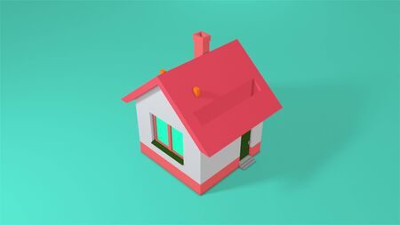 Piggy bank in the form of a house and falling gold coins. Computer generated a coin falling into house. 3d rendering isometric background