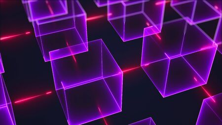Connection structure of many neon cubes. Computer generated abstract isometric background, 3d rendering