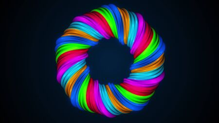 Colored twisted shape. Computer generated abstract hypnotic background. 3D render swirling lines Stock fotó