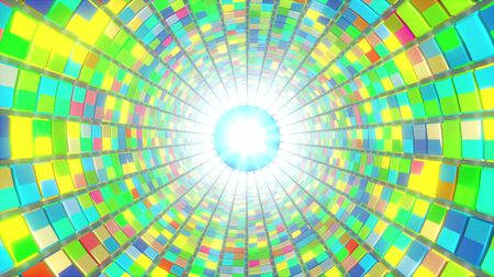 Dance floor tunnel of multi-colored squares, computer generated. 3d rendering of modern background Stock fotó