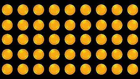 Computer generated set of spinning rows with 8 bit gold coins. 3d rendering win backdrop Stock fotó