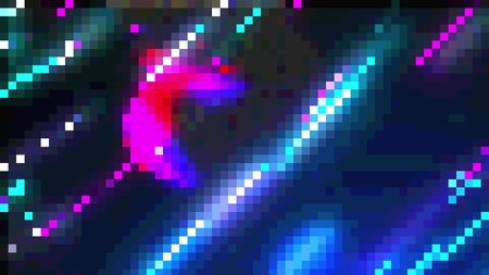 Computer generated 8 bit effect, colorful pixelated background, 3d rendering