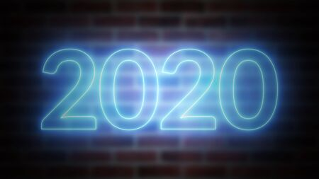 New Year neon sign 2020 on a background of brickwork, computer generated. 3d rendering of Christmas and New Year Celebration Stock fotó