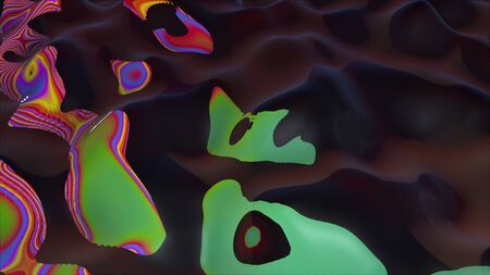 Computer generated abstract dark background. 3d rendering of appearance of colored striped spots on a rotating wavy surface