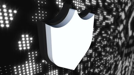Icon cybersecurity shield on digital modern background, computer generated. 3d rendering of data protection abstract concept