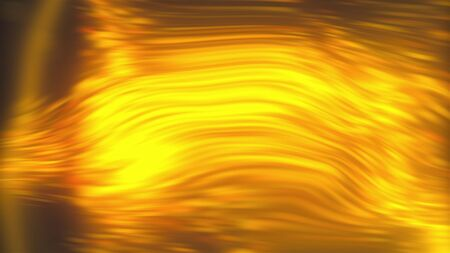 Abstract backdrop with turbulence golden liquid. 3d rendering computer generated golden bokeh