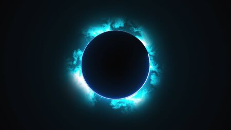 Computer generated a dark round disk with a neon border against the backdrop of rapidly moving clouds. 3d rendering solar eclipse phenomenon