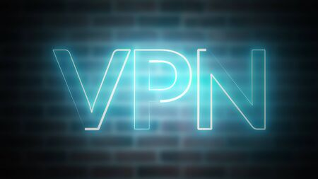 3D rendering of shine text VPN against the background of brick, computer generated wireframe symbol with glowing laser light