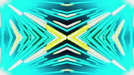Merging multi-colored stripes at an angle, computer generated. 3d rendering of symmetrical background