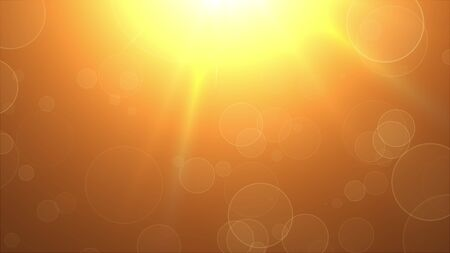 Flying round spots in the rays of a warm light source, computer generated. 3D rendering of modern abstract background