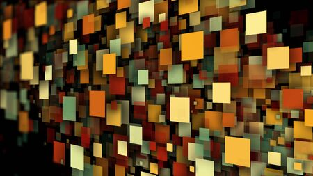 Abstract background with multicolored transparent squares and particles. 3D computer rendering