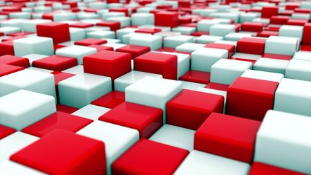 3d rendering web background of white and red cubes located at different levels. Computer generated abstract area. Imagens