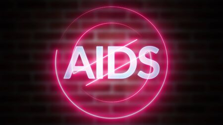 3D rendering of word AIDS against the background of brick, computer generated wireframe symbol stop with glowing laser light