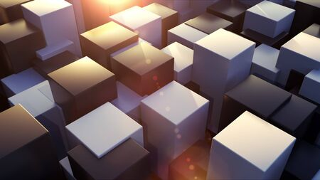 3d rendering geometric surface. Transformation of rectangle elements of different levels with a square base. Abstract structure with cubes, computer generated Reklamní fotografie