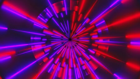 3d render of circle neon lines. Glowing effects. Computer generated abstract background of flickering beams