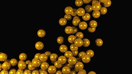 Computer generated animation many gold balls fall on top and fill the entire screen. 3D rendering of modern background. Reklamní fotografie