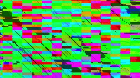 Computer generated glitch. 3d rendering video error, pixel multi-colored zigzags noise