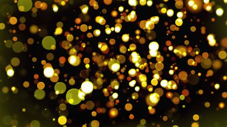 Christmas background with glittering gold circles bokeh, computer generated. 3d rendering