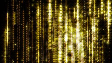 Computer generated beautiful background from stars, sparkles and garlands. 3d rendering of glamour golden rain