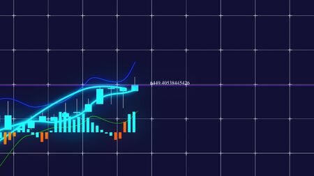 Growing candlestick chart of stock market investment trading. Computer generated business background, 3d rendering. Reklamní fotografie