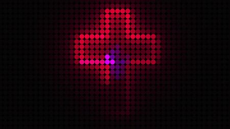 Computer generated bright display of running dottes lights. 3D rendering of led background for disco