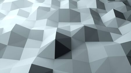 3d rendering abstract polygonal abstract background. Computer generation low poly waving surface. Geometric triangles