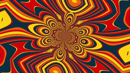Swirling mandala with a colored striped elements forming the petals and circles. 3D rendering of a computer generated hypnotic background