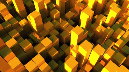 3d rendering background of many gold rectangles located at different levels. Computer generated abstract surface